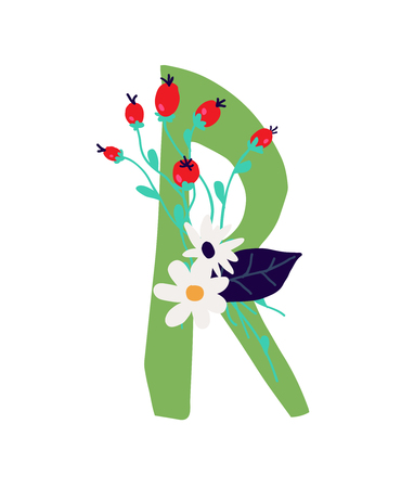 Illustration pour Illustration of the letter R in plants and flowers. Vector. Monogram for banner, greeting card. Composition of bouquets and plants, herbarium. Cartoon style. The image of summer and spring. Pattern for clothes. - image libre de droit