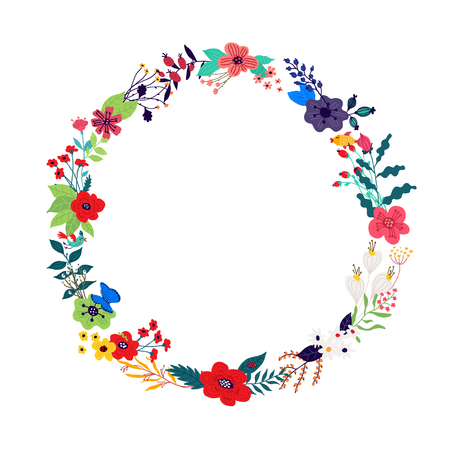 Illustration pour Illustration of a wreath of flowers and buds on a white background. Vector. Picture for banner, greeting card. March 8, women's day. Cartoon style. The image of summer and spring. Round frame. Invitation. - image libre de droit