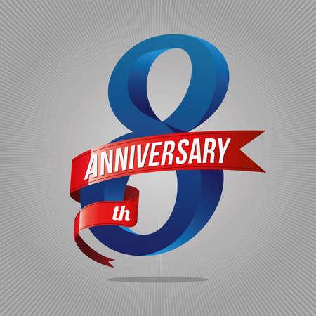 Illustration pour 8 years anniversary celebration logotype. 8th logo, gray background - image libre de droit