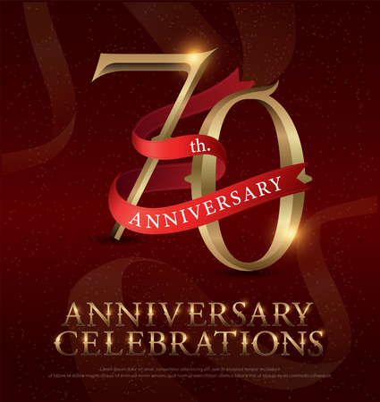 Ilustración de 70th years anniversary celebration golden logo with red ribbon on red background. vector illustrator - Imagen libre de derechos