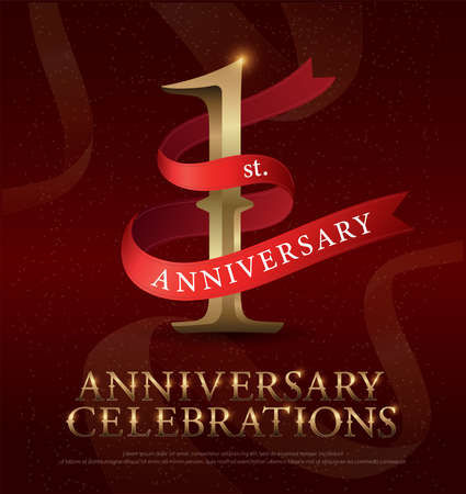 Ilustración de 1st year anniversary celebration golden logo with red ribbon on red background. vector illustrator - Imagen libre de derechos