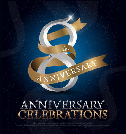 Illustration pour 8th years anniversary celebration silver and gold logo with golden ribbon on dark blue background. vector illustrator - image libre de droit