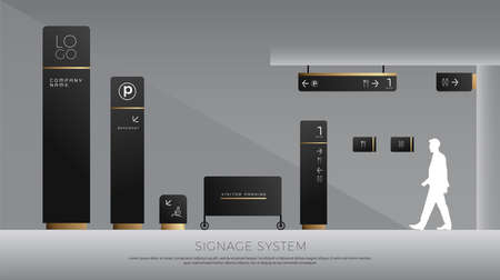 exterior and interior signage concept. direction, pole, wall mount and traffic signage system design template set.
