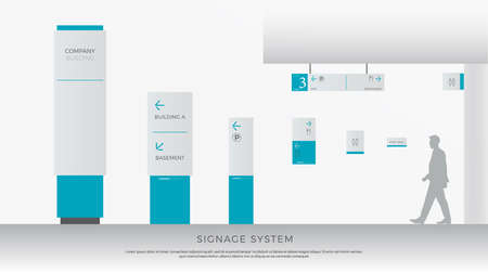 Ilustración de Exterior and interior signage system. direction, pole, wall mount and traffic signage system design template set. empty space for logo, text, white and blue corporate identity - Imagen libre de derechos