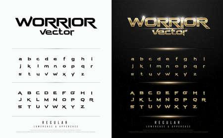 Ilustración de Exclusive gold Letters Typography regular font digital and sport concept. vector illustration - Imagen libre de derechos