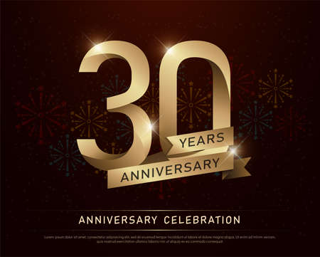 Ilustración de 30th years anniversary celebration gold number and golden ribbons with fireworks on dark background. vector illustration - Imagen libre de derechos