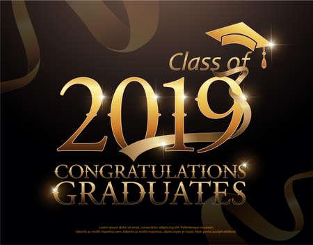 Ilustración de Class of 2019 Congratulations Graduates gold text with golden ribbons on dark background - Imagen libre de derechos