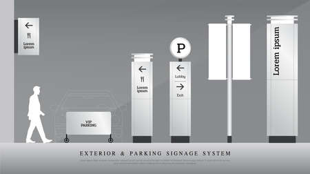 Illustration for exterior and parking signage. directional, pole, and traffic signage system design template set. empty space for logo, text corporate identity - Royalty Free Image
