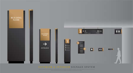 Illustration pour exterior and interior signage. directional, pole, and traffic signage system design template set. empty space for logo, text gold and black corporate identity - image libre de droit