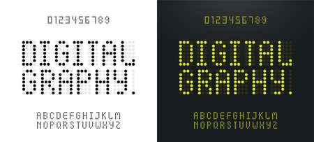 Illustration pour Green alphabet and numbers LED digital alphabet. Electronic scoreboard display, letters, sign, symbols. Technology concept graphic element - image libre de droit