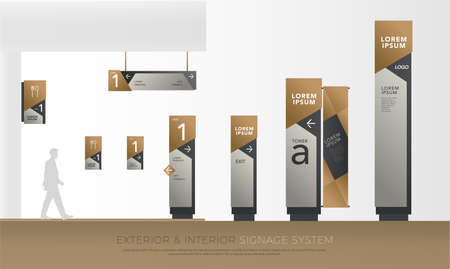 Illustration pour exterior and interior green eco signage concept. direction, pole, wall mount and traffic signage system design template set. empty space for logo, text corporate identity - image libre de droit