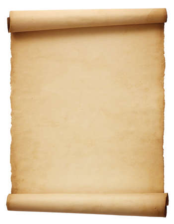 Old antique scroll paper isolated on white background
