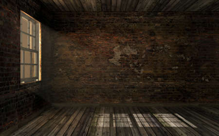 Photo pour Empty dark old abandoned room with old cracked brick wall and old hardwood floor with volume light through window pane. Haunted room in dark atmosphere with dim light, 3D rendering - image libre de droit
