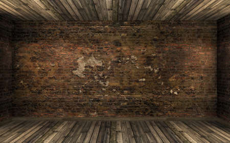 Photo pour Empty dark old abandoned room interior with old cracked brick wall and old hardwood floor. Haunted room in dark atmosphere with dim light, 3D rendering - image libre de droit