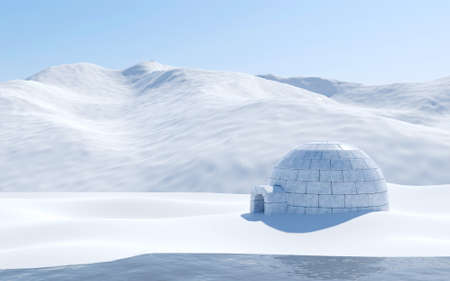 Igloo isolated in snowfield with lake and snowy mountain, Arctic landscape scene