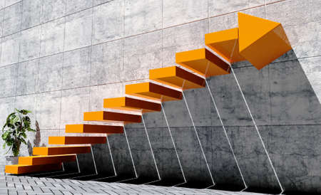 Photo pour Steps to move forward to next level, success concept, orange staircase with arrow sign and concrete wall in exterior scene - image libre de droit