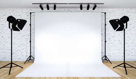 Photo for Photo studio lighting set up with white backdrop, 3D Rendering - Royalty Free Image