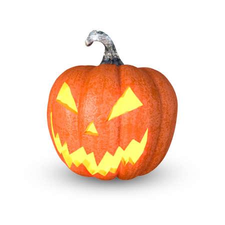 Foto de Halloween pumpkin, Jack O'Lantern, isolated with CLIPPING PATH, 3D Rendering - Imagen libre de derechos