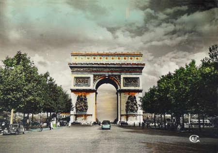 vintage postcard of Paris with Arc de Triumph