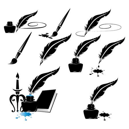 Illustration pour ink bottle ink pen writing feathers split ink vector image collection - image libre de droit