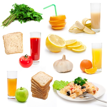 set of dietary bioproducts isolated on a white background