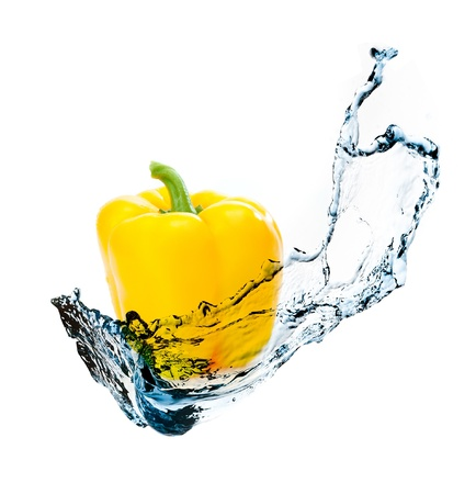 pepper with water splash isolated on white background
