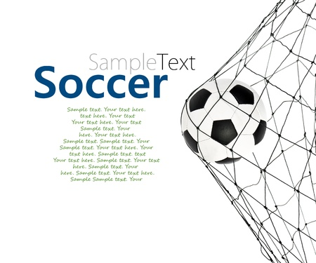 Photo pour soccer ball in the net gate on a white background with sample text - image libre de droit