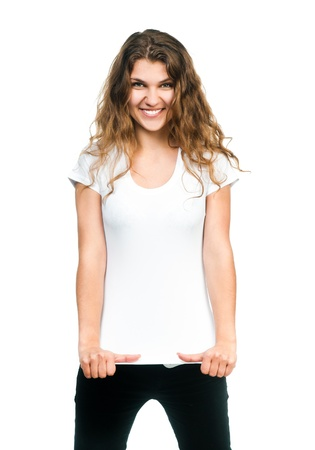 Young beautiful women posing with blank white t-shirts  Ready for your design