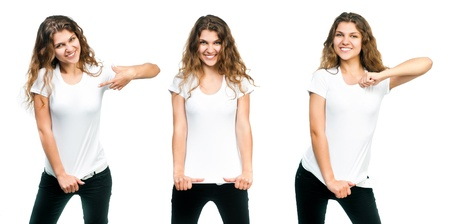 Young beautiful girl posing with blank white shirts  Ready for your design
