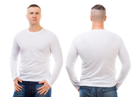 Young man in a white T-shirt isolated on white background, front and back