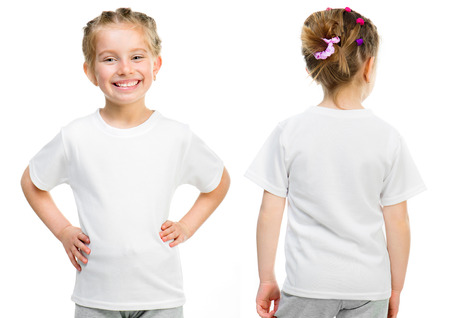 Photo pour Little girl in a white T-shirt isolated on white background, front and back - image libre de droit