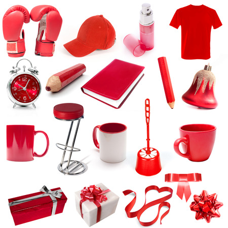 different isolated objects red color on a white background