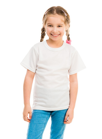 cute little girl in a white T-shirt and blue jeans on a white background