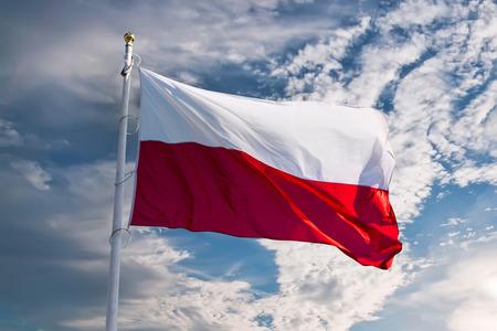 polish flag waving against blue sky