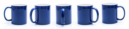 Set of different views of blue cup isiolated on a white background