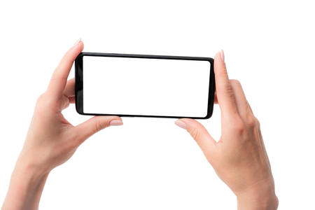 Photo pour Template of modern black smartphone hold in hands for your design isolated on a white - image libre de droit