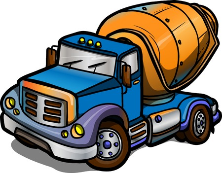 Illustration of a Cartoon concrete mixer  Isolated  Colored