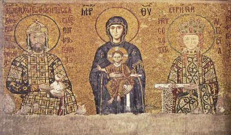 Byzantine mosaic of 13th century in Hagia Sophia in Istanbul, Turkey