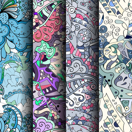 Set of tracery colorful seamless patterns. Curved doodling backgrounds for textile or printing with mehndi and ethnic motives. Vector