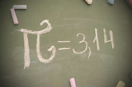 An image of the Pi number on the school board with chalk