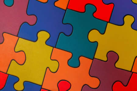 Photo pour Fragment of a floor in a children's game room from multi-colored puzzles - image libre de droit