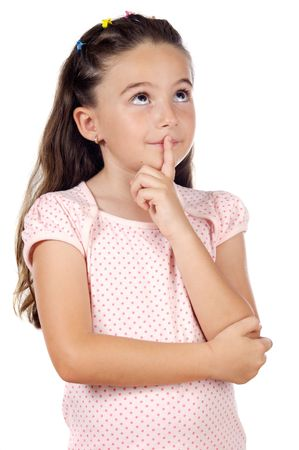 Girl with a thoughtful expression over white background
