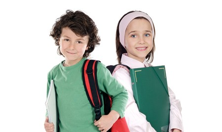 Two students returning to school on a white background
