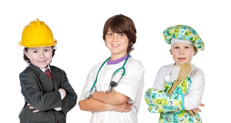 Three children with clothes of differents profession isolated on white