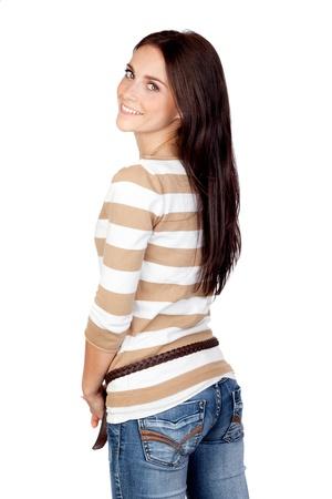 Foto de Beautiful brunette girl isolated on a over white background - Imagen libre de derechos