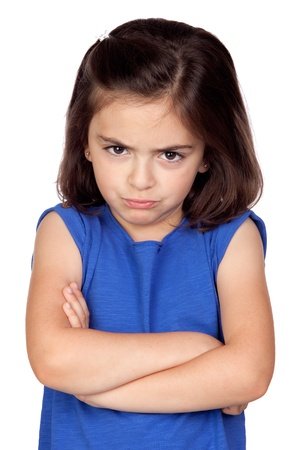 Angry little girl isolated on a over white background
