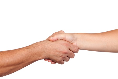 Photo for Handshake between two hands isolated on white background - Royalty Free Image