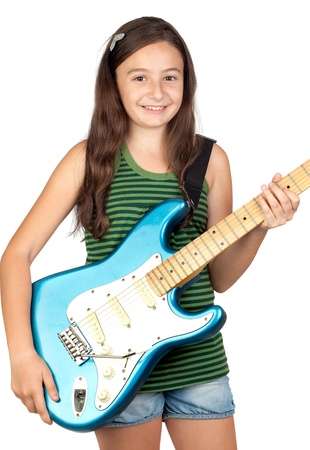 Adorable girl whit electric guitar on a over white backgroundの写真素材