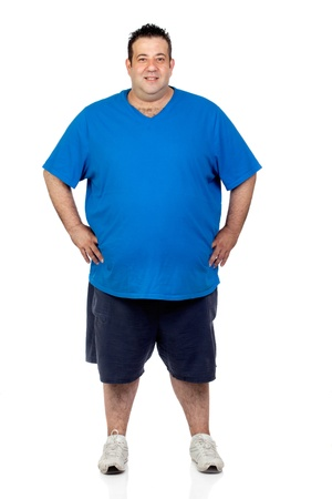 Happy fat man isolated on white background
