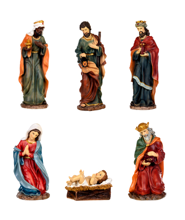 Foto per Ceramic figures for the nativity scene isolated on a white background - Immagine Royalty Free